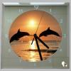 Vierkante klok zonsondergang dolfijnen